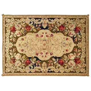 Early 20th Century Antique Portuguese Needlepoint Rug - 6′7″ × 4′8″ For Sale