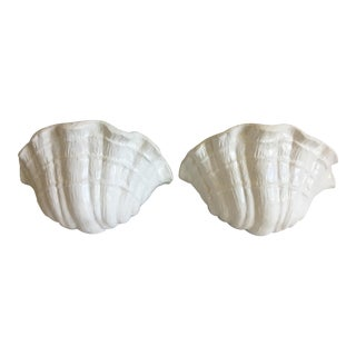 1970s Plaster Clam Shell Wall Lights - a Pair For Sale