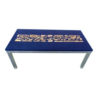Modern Blue & Gold Resin Coffee Table For Sale