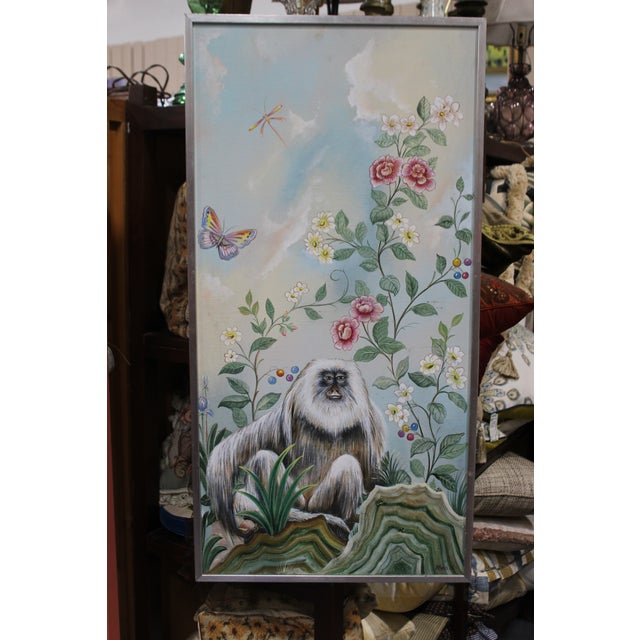 Blue Late 20th Century Decorative Monkey Painting For Sale - Image 8 of 8