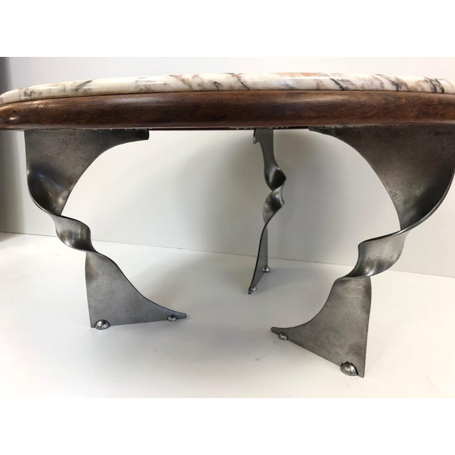 Unique Steel Base and Marble-Top Coffee Table For Sale - Image 4 of 7