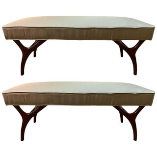 Mid Century Modern Pair of Window Benches or Stools in New Upholstery For Sale