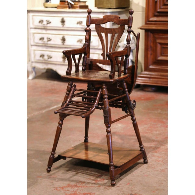 Feed your child in style or let him/her play in the antique and ingenious Art Deco high chair. Crafted in France circa...