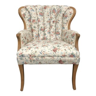 French Provincial Style Floral Print Arm Chair For Sale