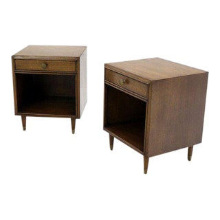 Mid Century Modern Johnson Furniture Walnut Nightstands - a Pair For Sale