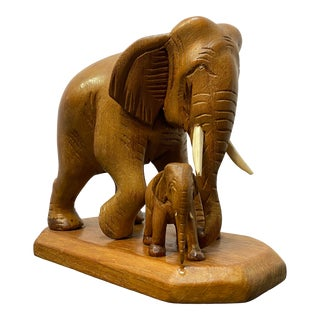 Vintage Hand Carved Elephants Figurine For Sale