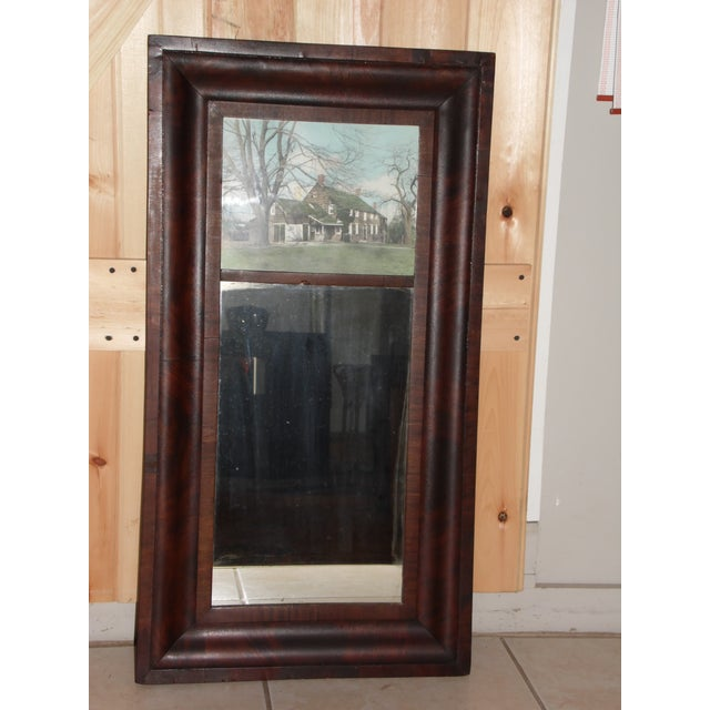 Antique American Empire Flame Mahogany Ogee Frame Trumeau