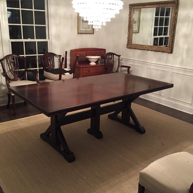 Brown Mahogany Finish Solid Dining Table For Sale - Image 8 of 8