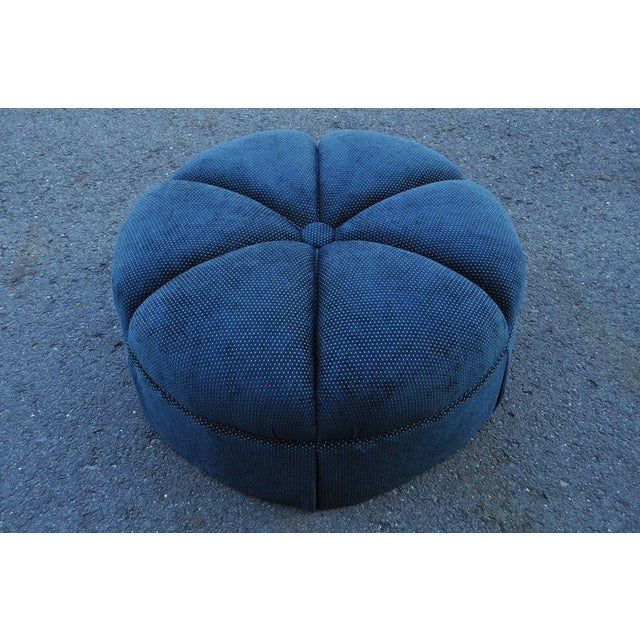 Hollywood Regency Style Large Century Blue Tufted Ottoman Coffee Table Stool - Image 7 of 11