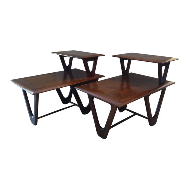 Mid-Century Modern Tiered Walnut Side Tables - Pair - Image 1 of 8
