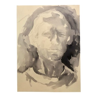 Mid-Century Watercolor by M.Bevington For Sale