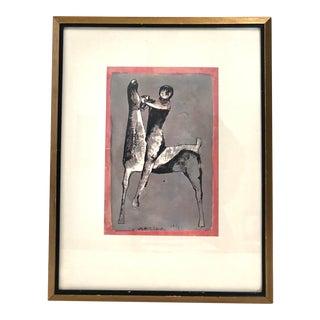 "Mazilo Print ""Primitave Print of a Man Riding a Horse"" For Sale"