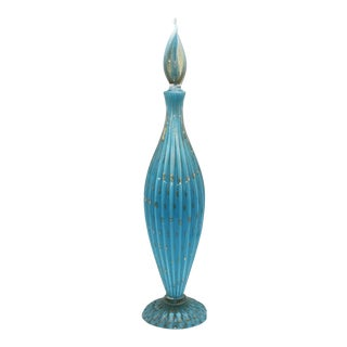 Blue Murano Glass Decanter With Gold Inclusions, C. 1950 For Sale