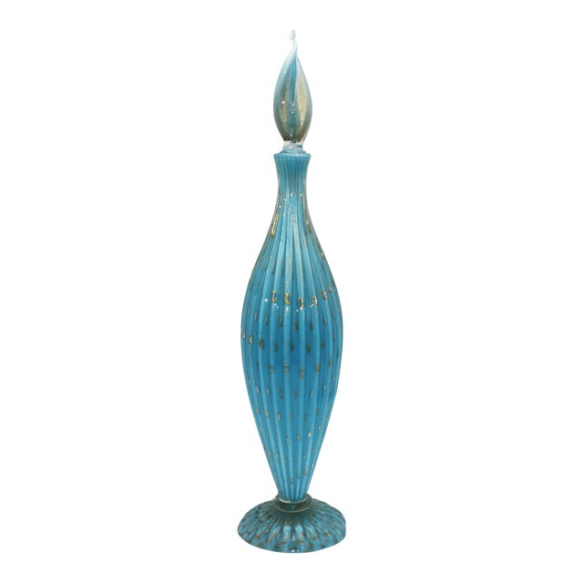 Blue Murano Glass Decanter With Gold Inclusions C. 1950 For Sale