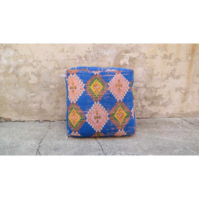 Moroccan Royal Blue & Light Pink Floor Pillow - Image 4 of 5