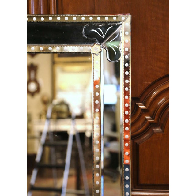 Mid 20th Century Mid-20th Century Italian Overlay Venetian Mirror With Painted Floral Etching For Sale - Image 5 of 9