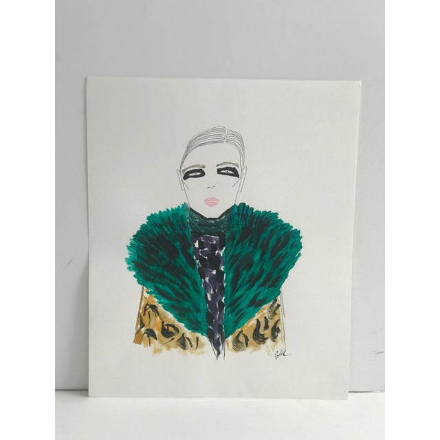 """Figurative 2010s Original Watercolor Illustration, """"Green Fur, Black Eyes"""" by Carly Kuhn For Sale - Image 3 of 5"""