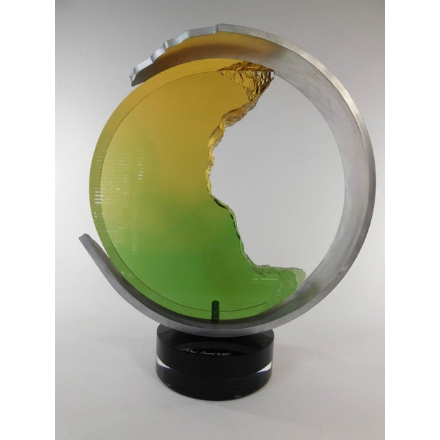 Modern Michael George Lucite Kinetic Moon Sculpture For Sale - Image 3 of 11