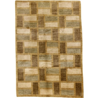 Nepalese Staggered Rectangles Rug - 6′ × 8′7″ For Sale