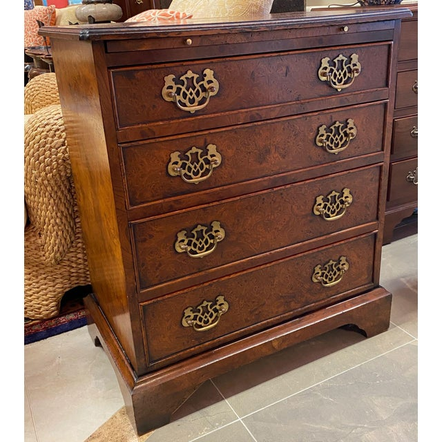 Burl Veneered All Sides 4-Drawer Chest For Sale - Image 11 of 11