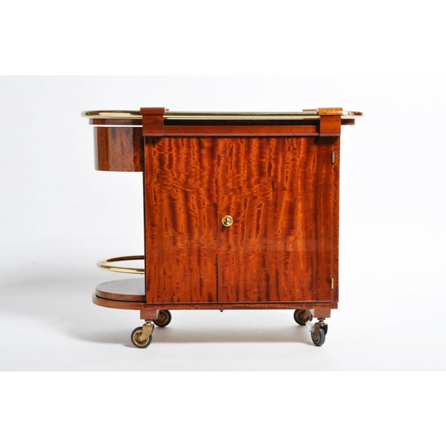 Art Deco Hungarian Mid-Century Modern Mahogany Bar Cart For Sale - Image 3 of 13