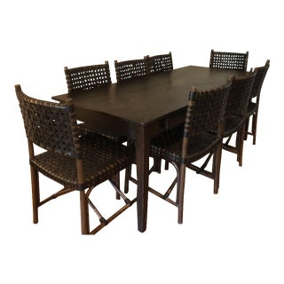 Dark Wood Dining Set With 8 Leather Bound Chairs For Sale