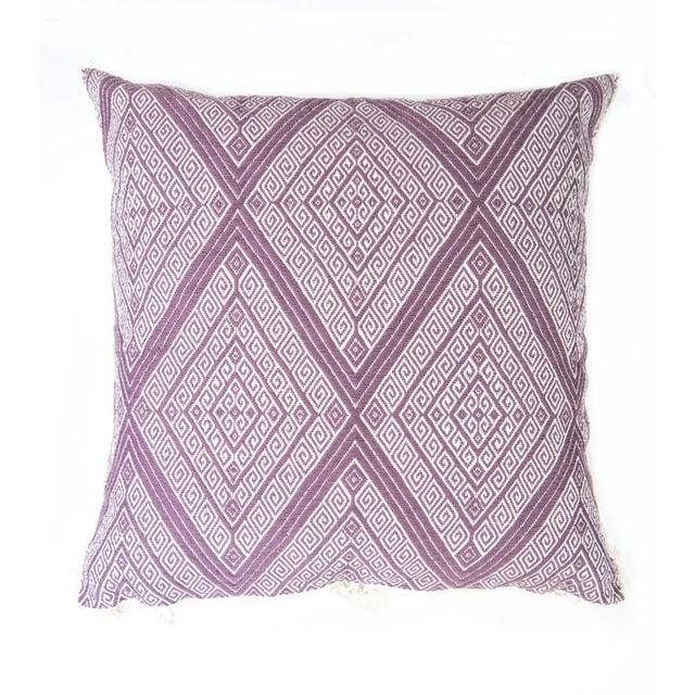 "Handwoven Mauve Diamond Pillow - 18"" × 18"" - Image 2 of 8"