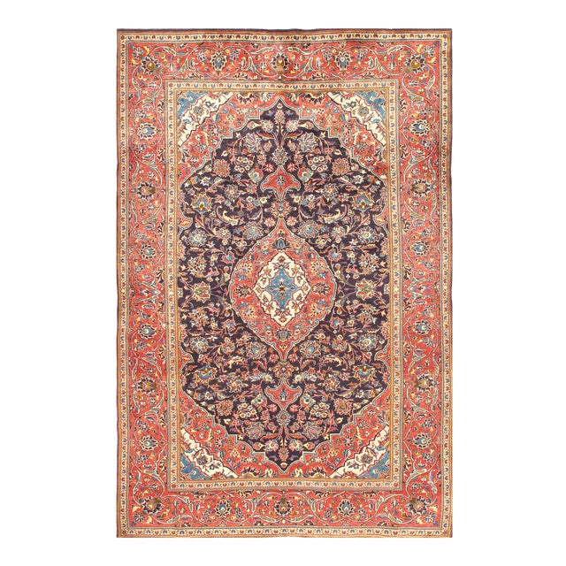 1950s Vintage Kashan Hand-Knotted Rug-6′9'x10′2″ For Sale - Image 4 of 6