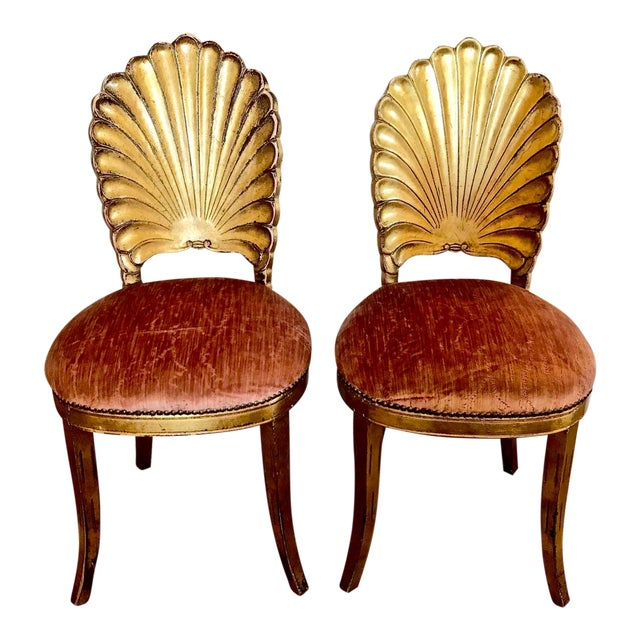 Pair Gold Leafed Shell-Form Side Chairs For Sale