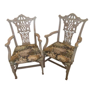 Chinese Chippendale Style Armchairs- a Pair For Sale
