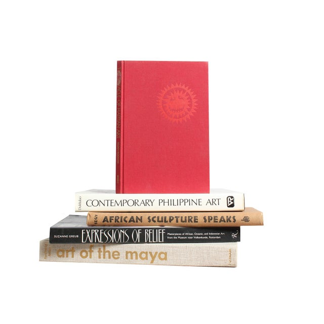 Primitive & Island Book Art Stack - Set of 5 - Image 1 of 2