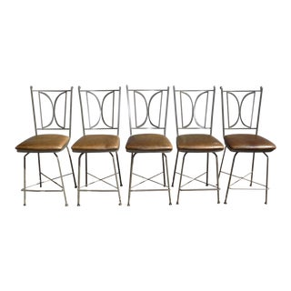 Modern Charleston Forge Wrought Iron Counter Height Swivel Bar Stool For Sale