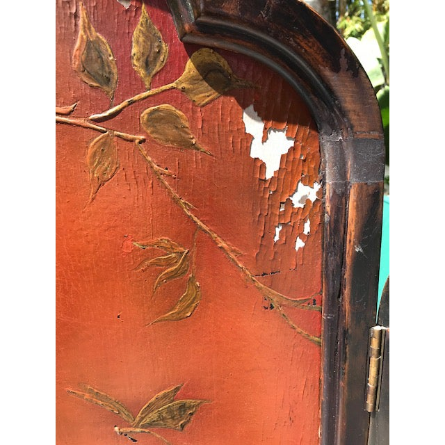 Red Victorian Art Nouveau 3-Panel Screen For Sale - Image 8 of 12