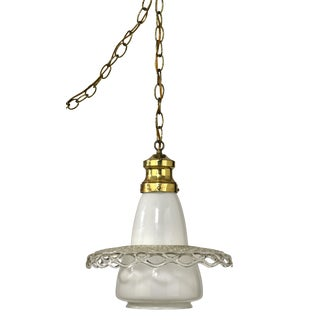 Mid-Century Milk Glass Pendant With Laced Clear Glass Skirt