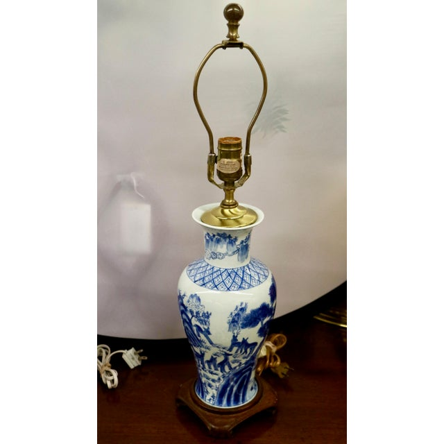 Late 20th Century Blue & White Asian Lamps - A Pair For Sale - Image 5 of 8