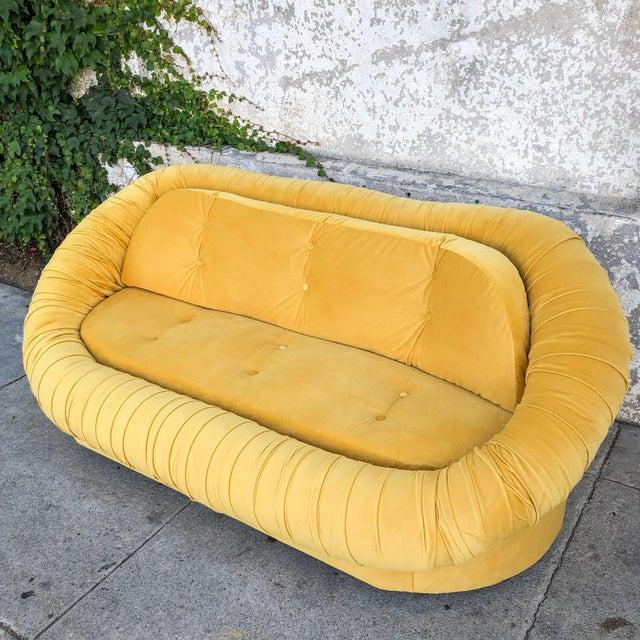 Vintage Lemon Yellow Velvet Reupholstered Loveseat For Sale - Image 4 of 8