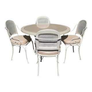 Lacquered Metal Outdoor Dining Set For Sale