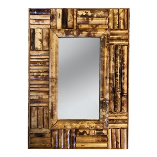 Victorian Burnt Bamboo Mirror For Sale