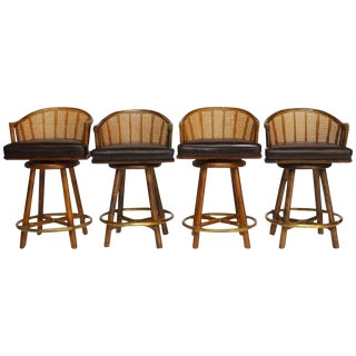 McGuire Bamboo & Cane Swivel Barstools - Set of 4