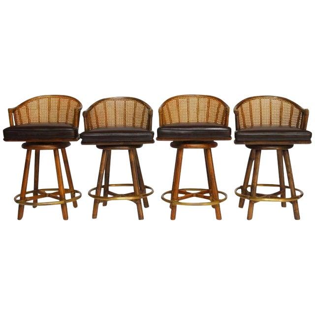 McGuire Bamboo & Cane Swivel Barstools - Set of 4 - Image 1 of 10