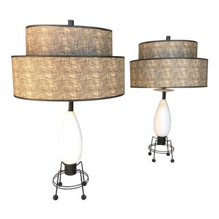 Fantastic Pair of Iron Alabaster Table Lamps Mid Century For Sale