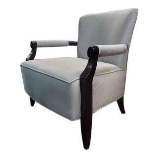 Henredon Furniture Barbara Barry Rolled Arm Walnut Flair Lounge Chair in Grey Velvet For Sale