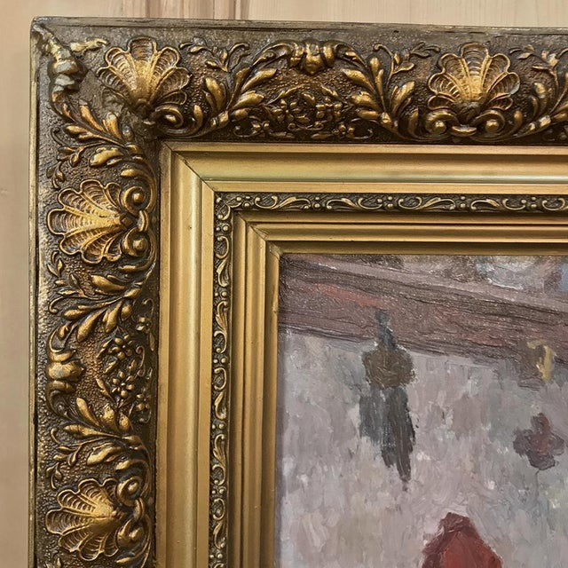 Canvas Antique Framed Oil Painting on Canvas by Victor Waegemaeckers For Sale - Image 7 of 12