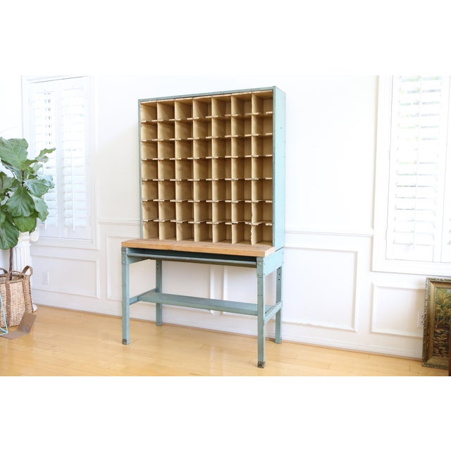 This industrial mail sorter is truly a one of a kind piece. It has a lot of potential to be used as industrial shelving....