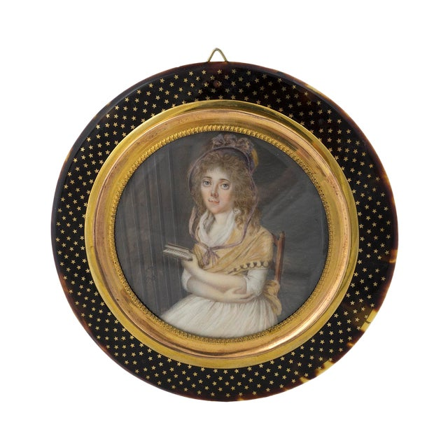 Late 18th Century Vintage German Miniature Portrait & Original Frame For Sale