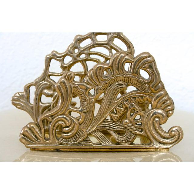 Art Nouveau Vintage Brass Teleflora Letter / Napkin Holder For Sale - Image 3 of 9