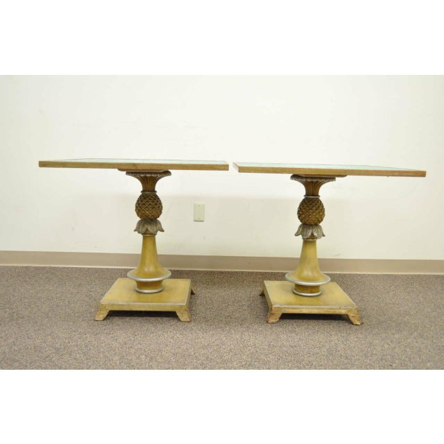 1950s Italian Carved Wood Blue Tile Top Pineapple Pedestal Tables - a Pair For Sale - Image 9 of 10