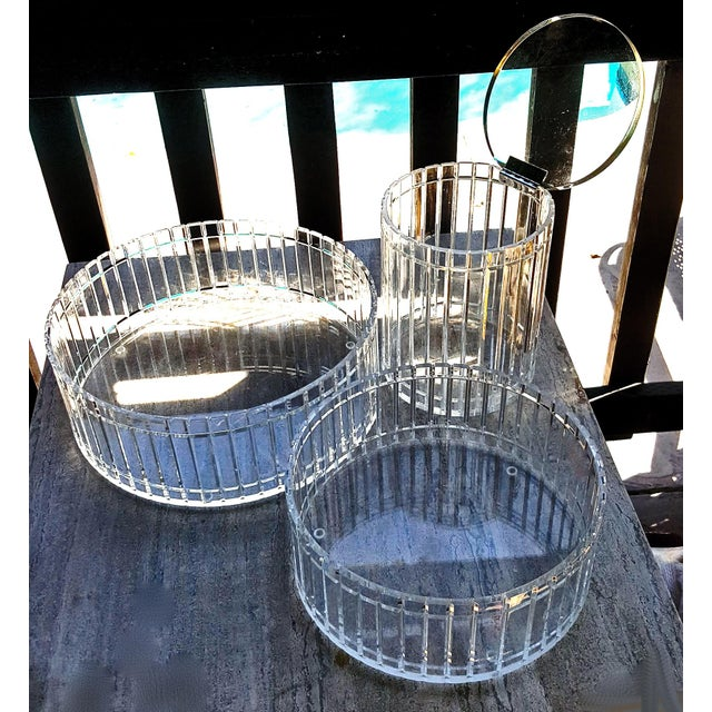 Glass 1990's Translucent Vertical Facet Cut Lucite Grainware Canister and Bowls - Lot of 3 For Sale - Image 7 of 13