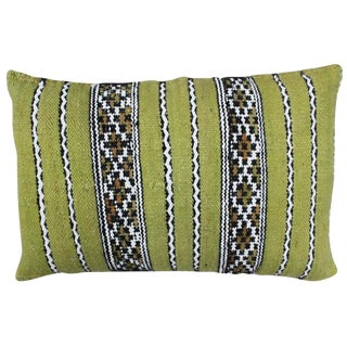 Green Moroccan Pillow W/ Stripes For Sale