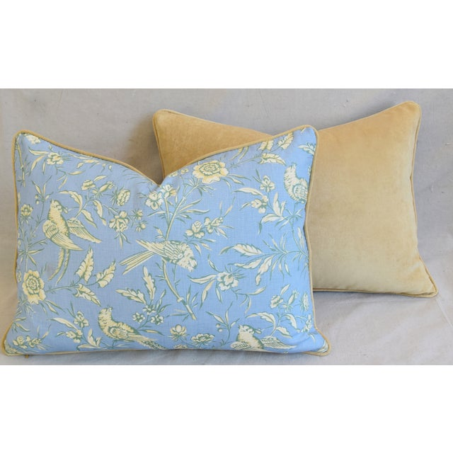 """Scalamandre Aviary Linen & Velvet Feather/Down Pillows 25"""" X 18"""" - Pair For Sale - Image 10 of 13"""